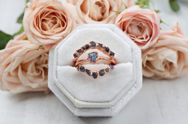 rawsapphirebridalset